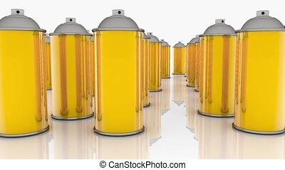 Color spray cans in golden color on white
