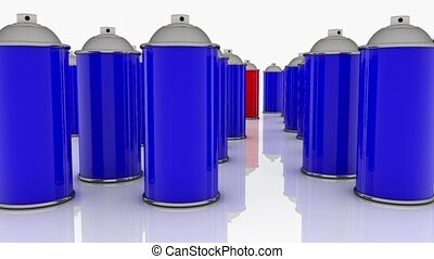 Color spray cans in blue and red
