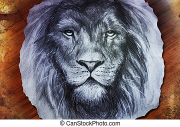 Drawing of a lion head with a majestically peaceful expression on wood abstract background. eye contact.