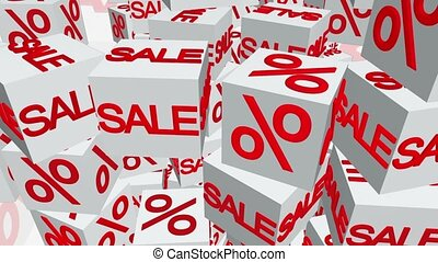 Cubes with sale and percents message in white