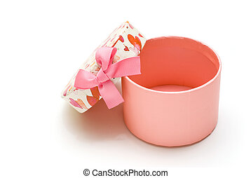 opened pink gift box in white background