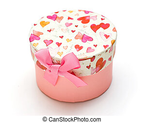 beautiful pink gift box in white background