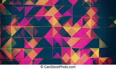 Abstract,flashing squares in red,blue and yellow
