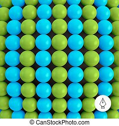 Abstract technology background with balls.