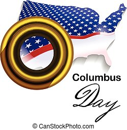 Columbus Day - Vector Stylized USA Map and Telescope as a...