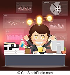 business woman with many arms working on computer with idea bulb