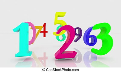 Numbers in various colors