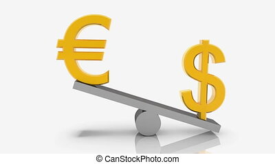 USA dollar and Euro signs on seesaw on white