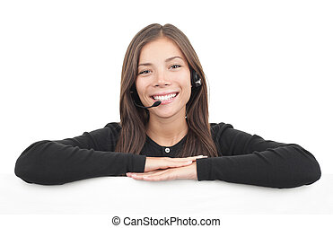 Headset woman from call center leaning over billboard