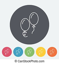 Ballon icon. Thin line flat vector related icon for web and...