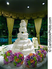 Elaborate Floral Wedding Cake - Image of an elaborate floral...
