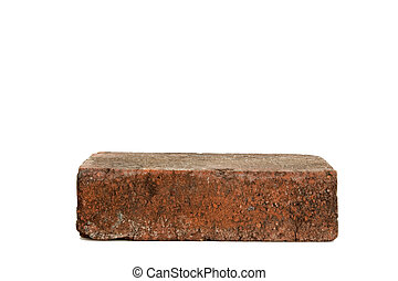 Single Red Brick - Image of a single red brick on white...