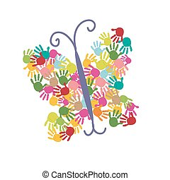 Butterfly of the handprints vector