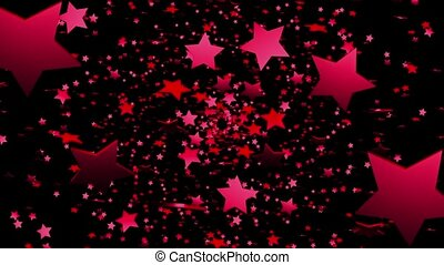 Abstract red stars on black