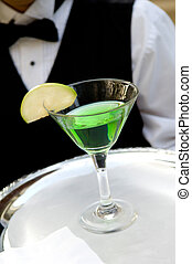 Bright green apple martini
