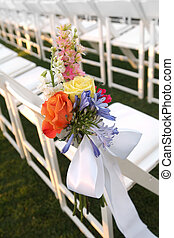 Floral Decor on White Chair