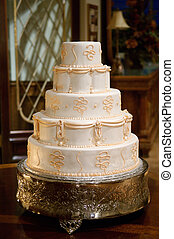 Classic Wedding Cake - Classic wedding cake with gold icing