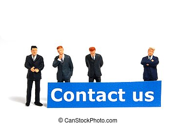 contact us concept with business team isolated on white...