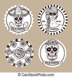 Sketch mexican dia de los muertos set of stickers in vintage...