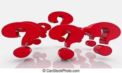 Question marks in red color on white