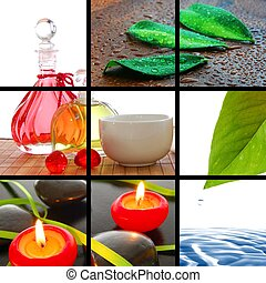 spa collage - spa or wellness concept with images in collage...