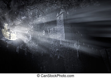 Medieval castle at night - Medieval castle in a foggy full...