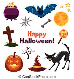 Happy halloween seamless pattern with characters and objects