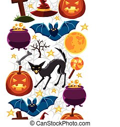 Happy halloween seamless pattern with characters and objects...