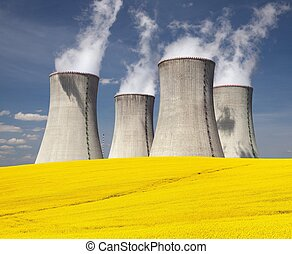 Cooling tower and rapeseed field - Nuclear power plant...