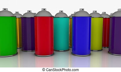 Color spray cans in various colors