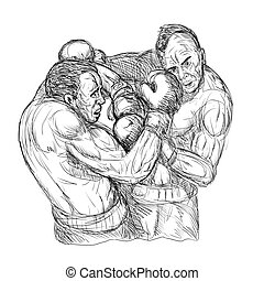 Sketch Of Two Male Boxers Throwing Punches - Illustration of...