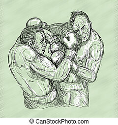 Sketch Of Two Male Boxers Throwing Punches
