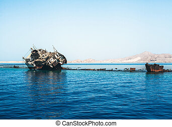 The sunk ship - Photo of the old and rusty sunk ship