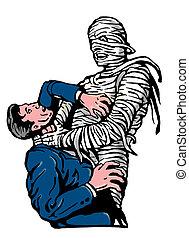 mummy strangling a man - illustration of a mummy strangling...