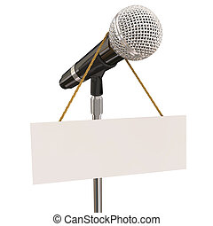 Microphone Stand Blank Copyspace Message Recording Studio...