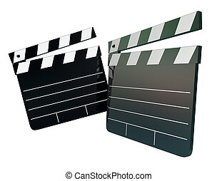 Movie Film Director Clapper Boards Two 2 Blank Copy Space...