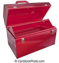 Red Metal Open Toolbox Empty Copy Space Text Your Message -...