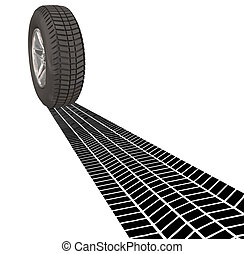 Wheel Tire Skid Mark Tracks Driving Transportation Car Automobile Vehicle