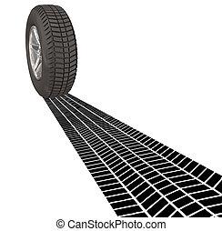 Wheel Tire Skid Mark Tracks Driving Transportation Car...