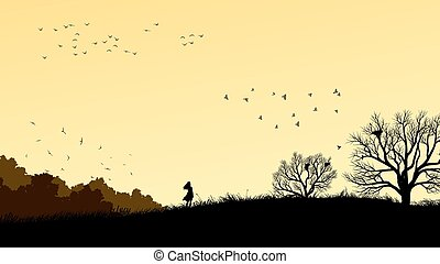 Girl in field windswept - Horizontal illustration landscape...