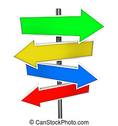 Arrow Direction Signs Four 4 Colorful Guide Post Copyspace...