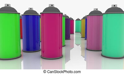 Color spray cans in various colors on white