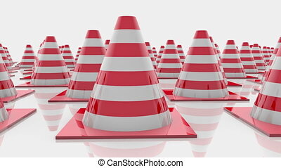 Moving traffic cones in rows with red stripes