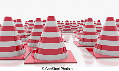 Traffic cones in rows with red stripes