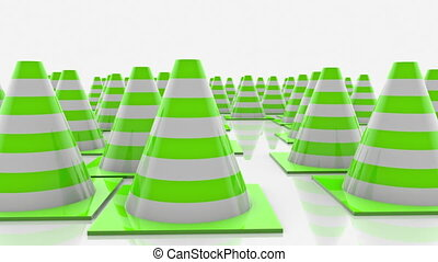 Traffic cones in rows with green stripes