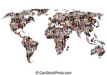 World map earth multicultural group of people integration...