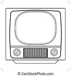 vintage tv set - outline illustration of vintage tv set