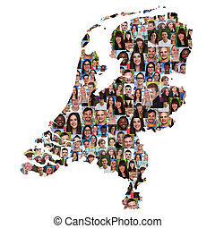 Netherlands map multicultural group of young people integration diversity