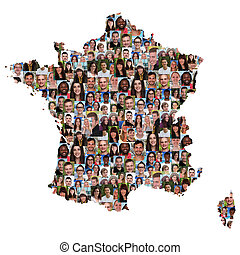 France map multicultural group of young people integration diversity
