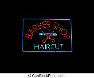 néon, barbeiro, loja, sinal